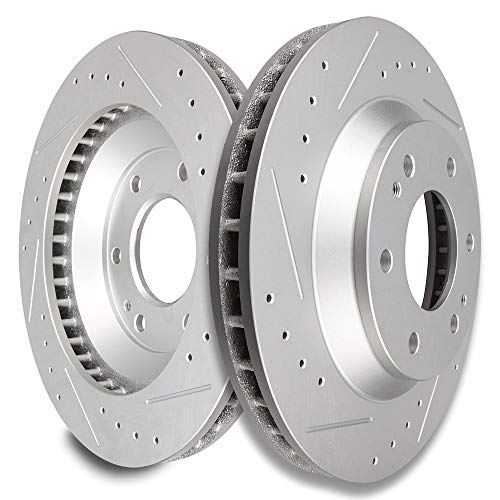 SCITOO Brakes Rotors 2pcs Front Drilled Slotted Discs Brake Rotors Brakes Kit fit 04 05 Buick Rainier,02-05 Chevrolet Trailblazer,02-05 GMC Envoy,04-08 Isuzu Ascender,02 03 04 Oldsmobile Bravada ()