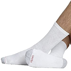 Hanes mens Big & Tall Crew Socks 12-Pack(144V12)-White-12-14-2PK