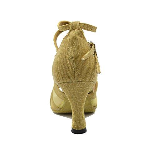 """Jig a sandalias Foo Fighters Open-toe salón de baile zapatos de baile para las mujeres con 3""""talón dorado"""