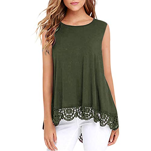 iFOMO 2019 Summer Casua Fashion Sleeveless Lace Hem Round Neck T Shirts Solid Tank Top for Women Green S