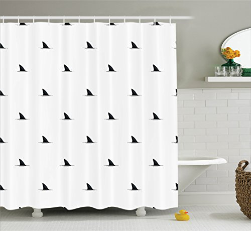 Sea Animals Decor Shower Curtain Set By Ambesonne, Pattern Of Shark Fins Speedy Fish Hunting Minimalistic Design Art Print, Bathroom Accessories, 69W X 70L Inches (Shark Themed Bathroom)