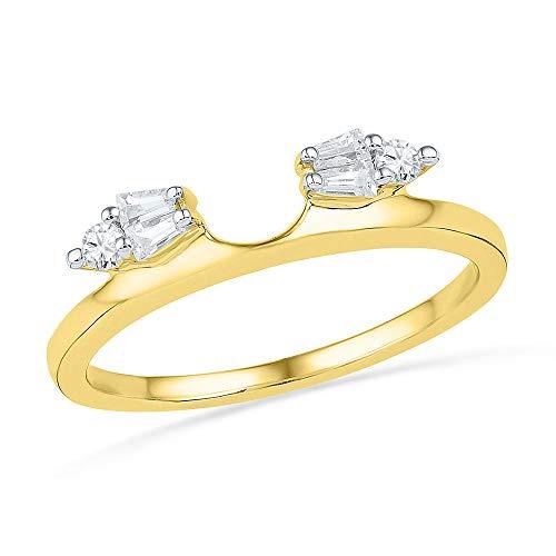 Solitaire Baguette Diamond Ring - 14kt Yellow Gold Womens Baguette Diamond Ring Guard Wrap Solitaire Enhancer 1/5 Cttw