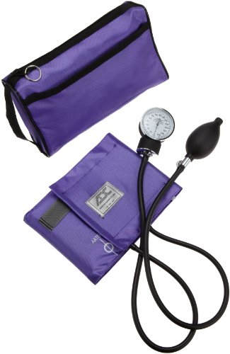 ADC Prosphyg 768 Pocket Aneroid Sphygmomanometer with Adcuff Nylon Blood Pressure Cuff, Adult, and Carrying Case, Purple