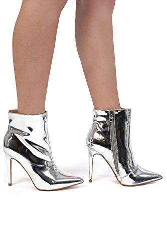 Stiefel Knöchel Absatz metallischen PILOT® Stilett spitzen Silber toe qTYx6XZ
