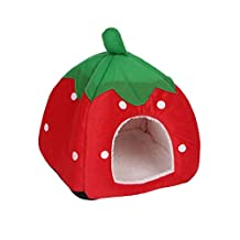 Kocome Cute Strawberry Pet Bed Dog Cat Kitten Puppy Cave Kennel House with Mat Foldable (S, Red)