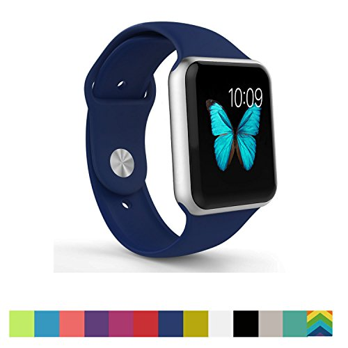 Apple Watch Band - WantsMall Soft Silicone Sport Style Replacement iWatch Strap for 38mm Apple Watch Models (Midnight blue)