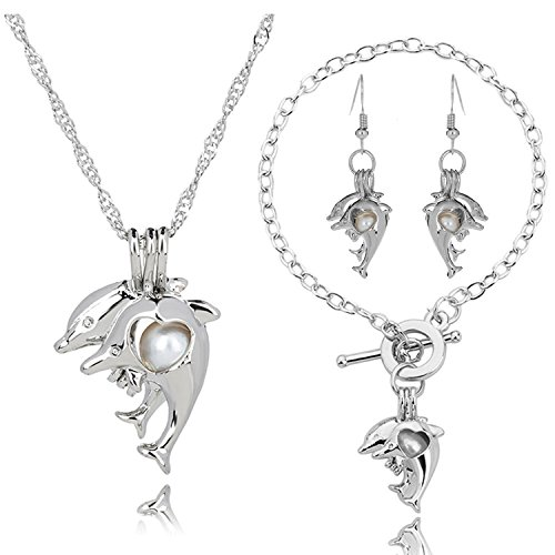 HENGSHENG Silver Color Dolphin Cage Locket Jewelry Set Animal Dangle Earrings Bracelet Chain Pendant Necklace(BT075) (White)