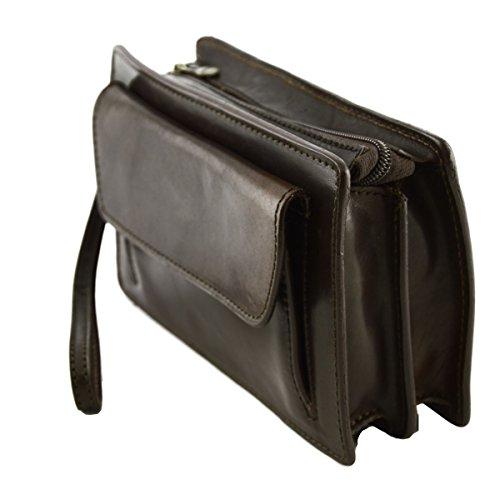 Echtes Leder Unterarmtasche Für Herren Farbe Dunkelbraun - Italienische Lederwaren - Herrentasche