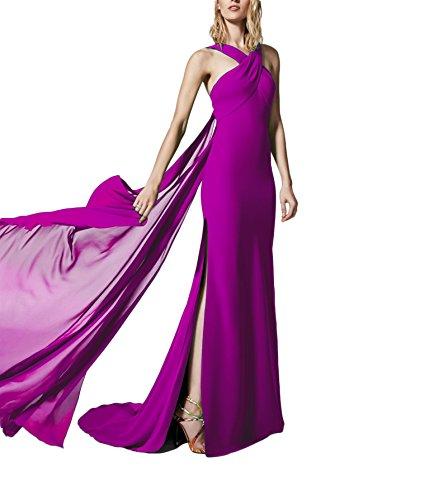 Women's Halter Criss Cross Chiffon A-line Long Evening Dresses With Split For Formal 071 Purple-10