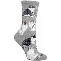 Wheel House Designs Women's Tabby Cat Socks 9-11 Gray