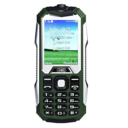 ell Phone Older Phone Camera 0.3MP Keyboard 2000mAh Battery Dual Sim With Outdoor LED Light for Kids or The old man (Army Green) ()
