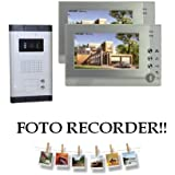 """Videocitofono a colori con doppio monitor LCD da 7"""" con funzione fotorecorder memoria integrata dvr"""