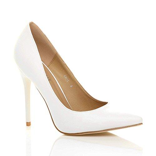 Damen Höher Absatz Kontrast Stilettos High Heels Spitz Gepflegt Fesch Arbeit Pumps Schuhe Weiß Matte