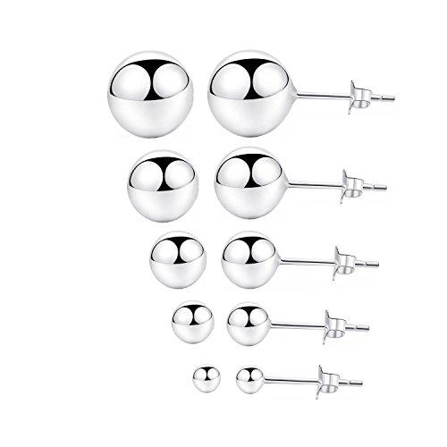 Ball Stud Earrings Sets 925 Sterling Silver (2-6mm) by Kokoma