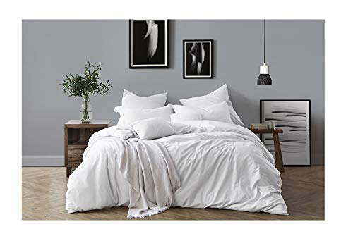 - Swift Home 100% Cotton Washed Yarn Dyed Chambray Duvet Cover & Sham Bedding Set, Ultra-Soft Luxury & Natural Wrinkled Look - King/California King, Ivory