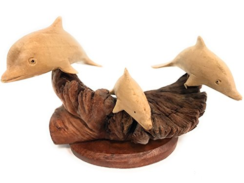 TikiMaster Set of 3 Dolphins on Driftwood Base 7'' X 7'' - Carved | #non06 by TikiMaster