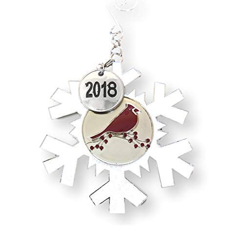 BANBERRY DESIGNS 2018 Dated Christmas Ornament - White Glittered Snowflake with Cardinal Design - Memorial Ornament