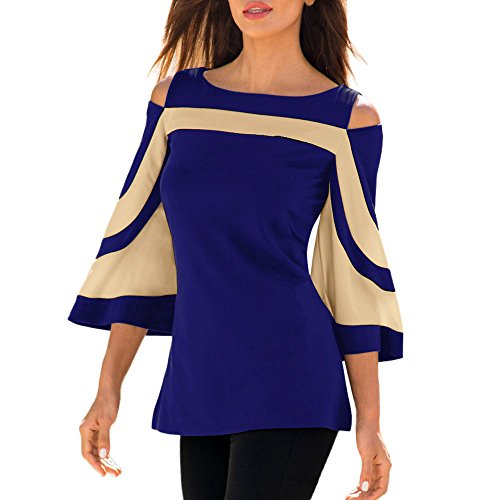 TOPUNDER Women Cold Shoulder Shirt Long Sleeve Blouse Sweatshirt Pullover Tops by (Blue, Small)]()