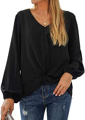 BMJL Women's Long Puff Sleeve Tops Going Out Fall V Neck T Shirts Knotted Casual Chiffon Blouse Tees