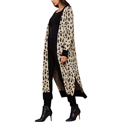 - Juicy Couture Black Label Womens Leopard Print Metallic Cardigan Sweater Beige S