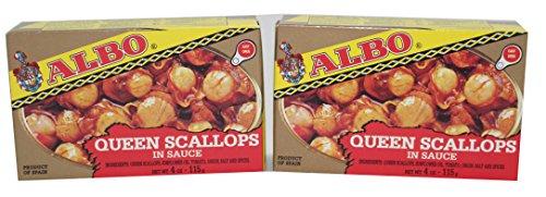 Albo Queen Scallops in Sauce, 4 oz Can (Pack of 2) (Albi Fish)