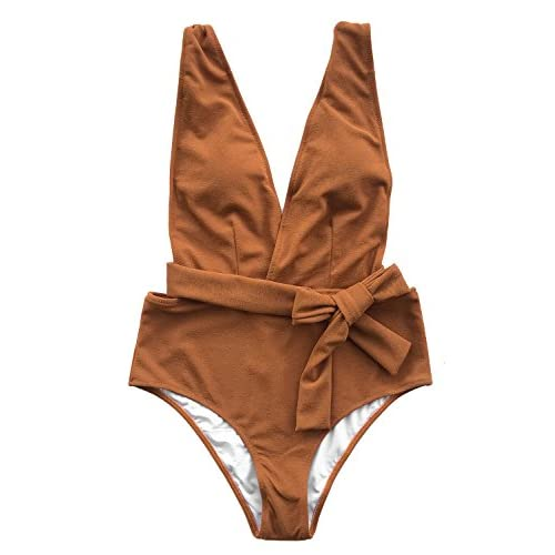 Cupshe Fashion Women's Sea Escape Solid With Waistband One-Piece Swimsuit Beach Swimwear Bathing Suit