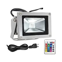 Hankcares Waterproof 10W LED RGB Flood Light, 16 Colors Changing with US-Plus&Remote for Garden,Hotel, Landscape
