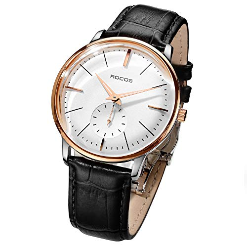 Men's Wrist Watches ROCOS Automatic Mechanical Watch for Men Waterproof Analog Watch with Stainless Steel and White Dial Luxury Classic Elegant Gift#R0140 ... (Black)