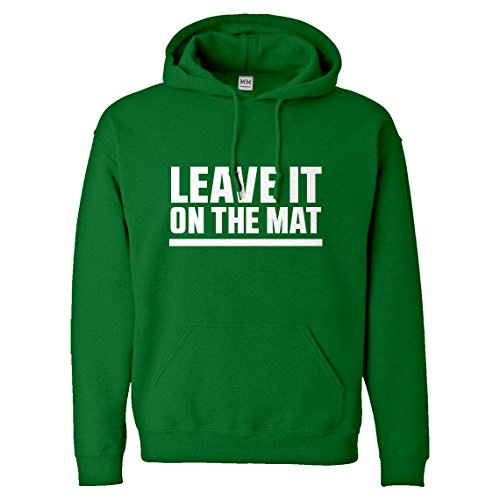 Indica Plateau Hoodie Leave it on The Mat Small Kelly Green Hooded Sweatshirt by Indica Plateau