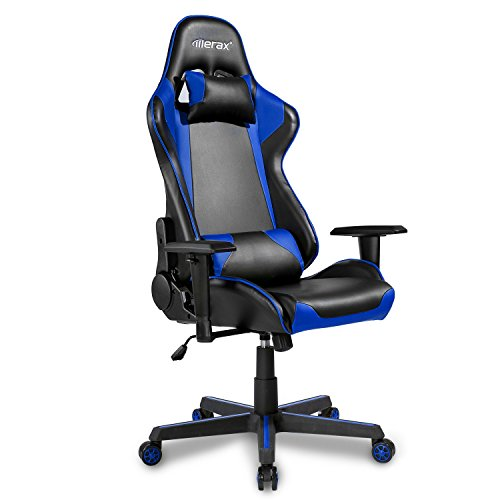 Merax Office Chair Executive Racing Gaming Chair Swivel Pu Leather Chair With Wide Armrests  Black And Blue