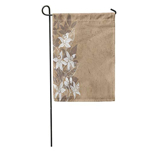 Semtomn Garden Flag Brown Floral Branches of Flowers Neroli on Kraft Place Orange Home Yard House Decor Barnner Outdoor Stand 12x18 Inches Flag ()