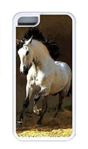 iPhone 5C Case, Personalized Custom Rubber TPU White Case for iphone 5C - White Horse Cover