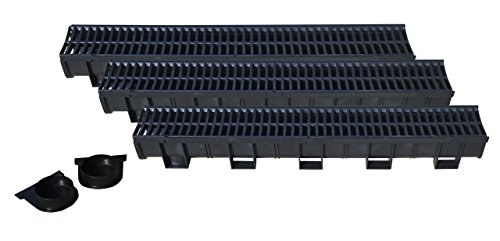 - US TRENCH DRAIN, 83300-3 - 10 ft RegularTrench Drain - Black Polymer, Heel Friendly Grate - Pack with 2 End Caps - For Drainage Systems, Driveway, Basement, Pools, etc.