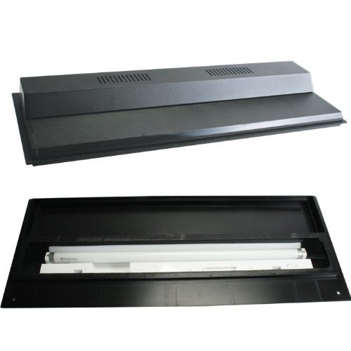 Perfecto Manufacturing Recessed Full Fluorescent Light Hood Black 30 Inch X 12 Inch Perfecto Hood Back Strip