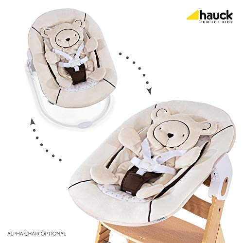 Hauck High Chair - Hauck Alpha Bouncer 2 in 1 Newborn Set, Cosy Baby Rocker from Birth, Compatible with Hauck Wooden Grow-Along High Chair Alpha+, Seat Minimizer, Hearts Beige