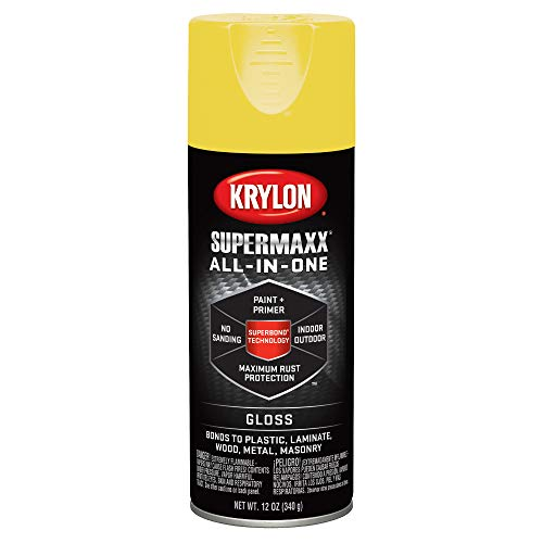 Krylon K08967000 SUPERMAXX All-In-One Spray Paint, Gloss Sun Yellow, 12 Ounce