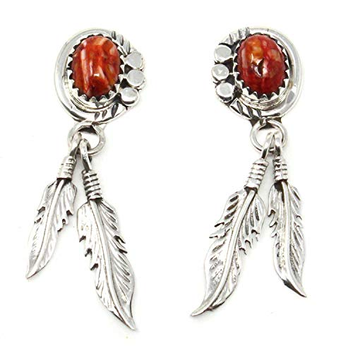 Navajo Sterling Silver & Red Spiny Oyster Shell Feather Dangle Earrings | 1 1/2