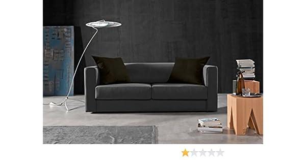 Due-home Sofá 3 plazas SAK,Acabado Tela Antimanchas Color (Gris y Cojines Negros)