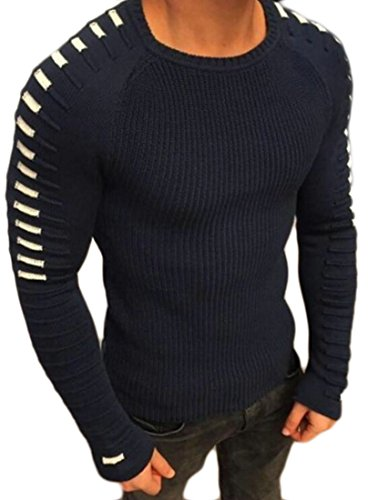 Sleeve UK Crewneck Mens today Blue Long Warm Pullover Winter Knitted Sweater Dark 6RFwBq