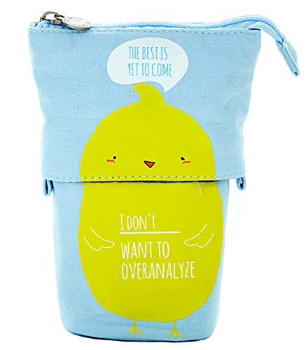Storage Bag Transformer Stand Store Pencil Holder Canvas+PU Cute Chick Telescopic Pencil Pouch Bag Stationery Pen Case Box