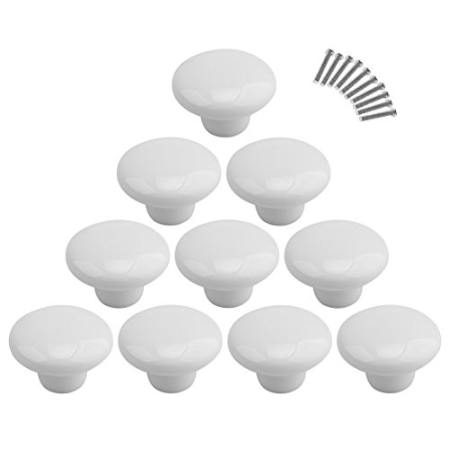 10Pcs Dresser Knobs, YIFAN Cute Drawer Puls for Kids' Room Ceramic Door Cabinet Handles - White (Cabinet Cute)