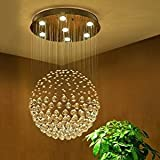 Saint Mossi Modern K9 Crystal Raindrop Chandelier Lighting Flush mount LED Ceiling Light Fixture Pendant Lamp for Dining Room Bathroom Bedroom Livingroom Width 45 x Height 81 cm