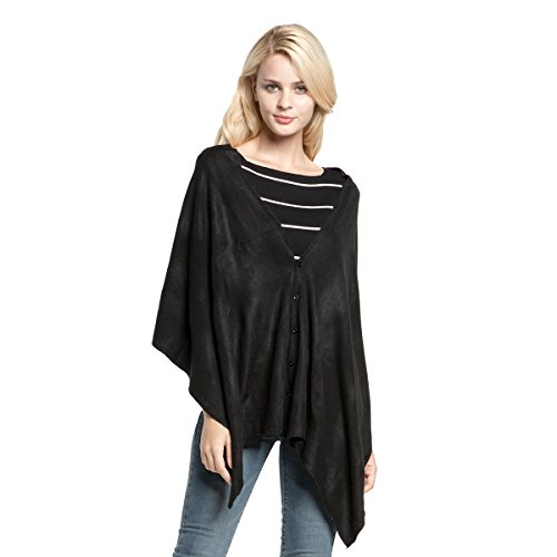 Vankerful Womens Faux Cashmere Acrylic Knitted Poncho Solid Wrap Magic Scarf Pashmina Shawl Asymmetric Topper Casual Cape Cloak Pullover Cardigan Shirt With Button DFS088Black ()