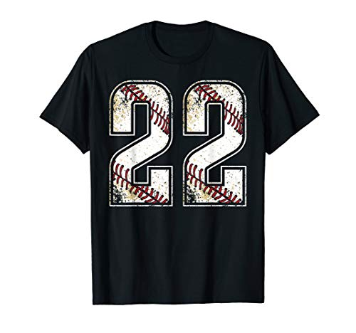 (#22 Baseball Jersey Number 22 Vintage Retro Birthday Gift T-Shirt)