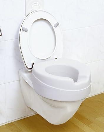 Toilettenaufsatz Sitzerh/öhung Toilettensitz WC Toilettensitz-Erh/öhung Soft 185 kg max /& Hygienemulde 10 cm Erh/öhung grau