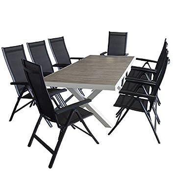 Ensemble de jardin table de jardin 204 x 100 cm, cadre en ...