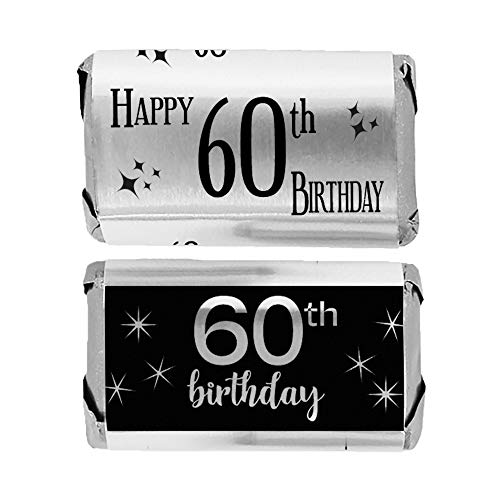 Black and Silver 60th Birthday Mini Candy Bar Wrappers | Shiny Foil | 45 Count