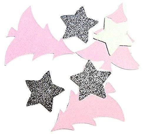 Tannenbaum Konfetti Rosa Silber Glitter Stern Tischdekoration