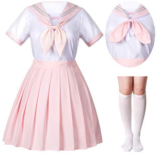 Japanese School Girls JK Uniform Sailor White Pink Pleated Skirt Anime Cosplay Costumes with High Socks Set(SSF36) XL(Tag -