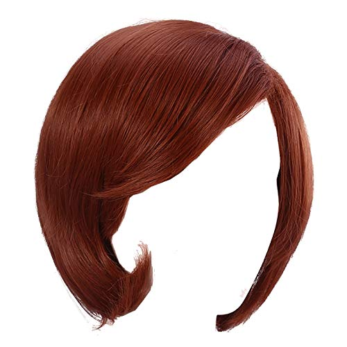 Women Short Bob Hair Wig Anime Costume Halloween Cosplay Party Wig with Eye Mask and Wig Cap, Reddish Brown]()